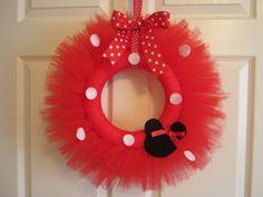 Minnie Mouse Tutu Wreath 1st Birthday Decor Girls Room Decor Door Decoration Minnie Mouse PartyRed  by American Blossoms. $32.00, via Etsy.