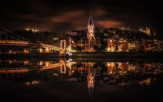 Download wallpapers Lyon, 4k, nightscapes, river, bridge, France, Europe