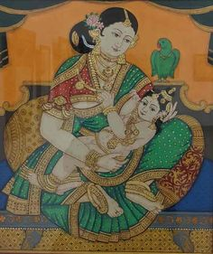 REVIVAL – Karnataka Chitrakala Parishath Mysore Painting, Madhubani Painting, Silk Painting, Yashoda Krishna, Krishna Hindu, Traditional Paintings, Traditional Art, Hindu Dharma, Indian Folk Art