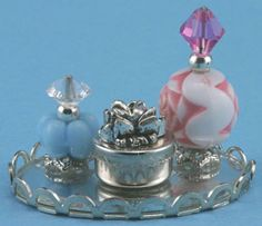 Perfume Tray w/ 2 Bottles & Powder Box | Mary's Dollhouse Miniatures