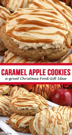If you are looking for Christmas Gift Ideas … how about a batch of these yummy Caramel Apple Cookies New Year's Desserts, Cute Desserts, Dessert Recipes, Cookie Recipes, Christmas Food Gifts, Christmas Desserts, Diy Christmas, Christmas Cookies, Holiday Gifts