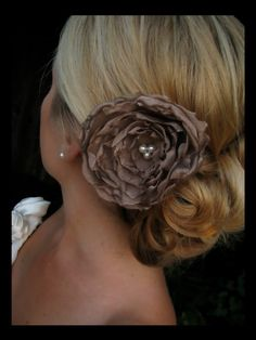 Gillia bridal flower, bridal accessories, Latte Chiffon Flower with Vintage Pearls