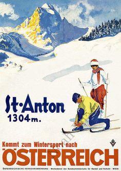 St Anton vintage austria ski travel poster repro 20x28