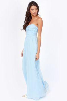 LULUS Exclusive Slow Dance Strapless Light Blue Maxi Dress