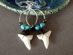 Shark Tooth Earrings Shark Jewelry Turquoise Blue Mako by adornyou