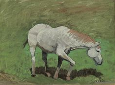 """Where ART Lives Gallery Artists Group Blog: Original Equine Oil Painting """"Grey Grazing"""" by Colorado Artist Susan Fowler"""