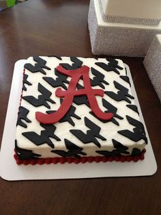 Houndstooth grooms cake made with brownies and covered in buttercream.