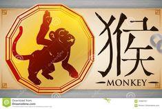 Voluta Con La Medalla Con El Mono Chino Del Zodiaco Sobre El Fondo Del Metal, Ejemplo Del Vector Ilustración del Vector - Ilustración de calendario, china: 103687521