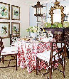 It's all about that Quadrille China Seas skirted table... Beautiful Chinoiserie