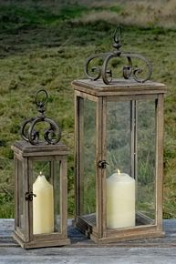 2 faroles para el jard n de madera con efecto xido al 80 for Faroles en hierro forjado para jardin