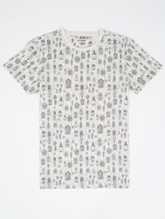 White Beetles and Bugs Print T-Shirt