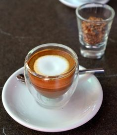 """Cafe Noisette (espresso macchiato, literally means """"marked or stained"""" because of the small amount of milk), as I had in Caen, FR (Normandie) Latte Art, Jamaican Rum Cream Recipe, Sandwiches, Best Espresso Machine, Coffee Varieties, Wraps, Coffee Blog, Blended Coffee, Coffee Drinkers"""
