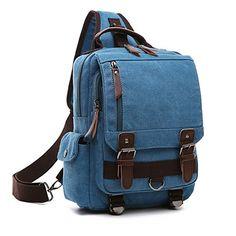 Minetom Lona Backpack Mochilas Escolares Mochila Escolar Casual Bolsa Viaje Moda Bolso De Bandolera Sencillo Unisex Azul Version A(29*11*33 Cm)