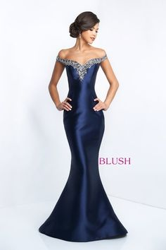 Off-the shoulder mermaid gown with beaded neckline