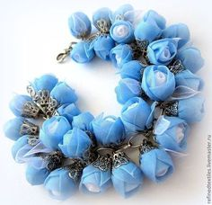 Blue sky rose for woman Diy Ribbon Flowers, Organza Flowers, Kanzashi Flowers, Shabby Flowers, Ribbon Art, Fabric Flowers, Textile Jewelry, Fabric Jewelry, Diy Crafts Jewelry