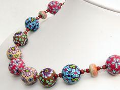necklace, fimo, arcilla, Herbstzauber * Kette Polymer Clay Perlen Des... von filigran-Design auf DaWanda.com
