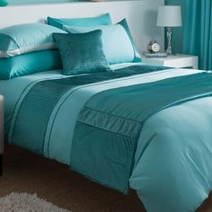 Chartwell Como Turquoise Striped Kingsize Bed Cover Set | Departments | DIY at B&Q