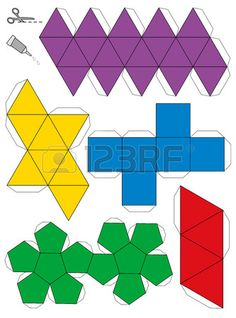 Illustration of Paper model template of the five platonic solids, to make a three-dimensional handicraft work out of the nets Isolated vector illustration on white background vector art, clipart and stock vectors. Origami Geometric Shapes, Geometric Solids, Geometric Artwork, 3d Paper, Paper Crafts, Solid Geometry, Free Paper Models, Diy Birthday Banner, Platonic Solid