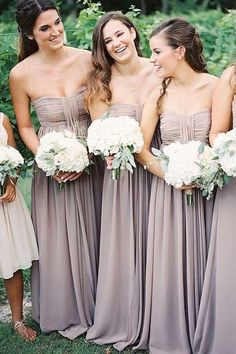 098e868c87690 A-Line Strapless Floor-Length Grey Chiffon Bridesmaid Dress with Ruched