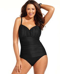 Miraclesuit Plus Size Swimsuit, Rialto Ruched One-Piece - Plus Size Swimwear - Plus Sizes - Macy's