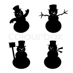 Stock vector of 'Vector illustration of four snowman in silhouette. Christmas Crafts To Make, Christmas Paper, Christmas Snowman, Fall Crafts, Christmas Cards, Father Christmas, Wood Carving For Beginners, Snowman Crafts, Window Art
