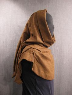 Hood Medieval brown herringbone wool cashmere