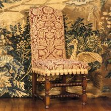 Lambrook (Charles II) Style Dining Chair - solid oak frame upholstered in Fiore, by Stuart Interiors Medieval, English Country Style, William And Mary, Oak Panels, Rococo Style, Chair Fabric, Interiores Design, Solid Oak, Dining Chairs