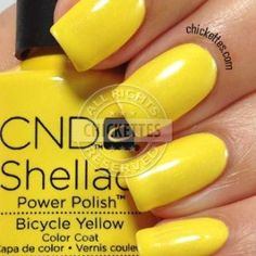 ideas nails shellac ideas yellow for 2019 Shellac Nail Colors, Shellac Nails, Cnd Colours, Nail Nail, Nail Polishes, Nail Designs Easy Diy, Black Nail Designs, Bright Nails, Yellow Nails