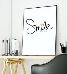 SMILE always/ Home Art Print Home Quote by ThePartyKitShop on Etsy