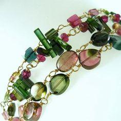Watermelon Tourmaline Gold Flled Bracelet, Multi Strand Tourmaline Bracelet