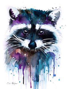 Raccoon Art Print by slaveika - Raccoon watercolor painting print, Raccoon art, animal watercolor, animal illustration, Raccoon il - Raccoon Illustration, Art And Illustration, Painting & Drawing, Painting Prints, Art Prints, Painting Abstract, Art Inspo, Animal Drawings, Art Drawings
