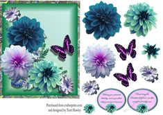 - Dahlia greetings decopupage card front is a great card to give to someone with a birthday, or to get well, has 2 lab. Dahlia, Decoupage, Birthday Cards, Lab, Card Making, Turquoise, Floral, How To Make, Jewelry