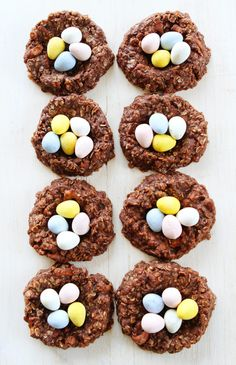No-Bake Chocolate Peanut Butter Nest Cookie Recipe on twopeasandtheirpod.com These easy no-bake cookies are perfect for spring and Easter!
