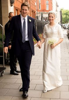 Alexander Fellowes (Princess Diana's nephew) wed society cobbler Alexandra Finlay...The Bride Alexandra Finlay wore a traditional silk dress and carried a simple posy of wild flowers