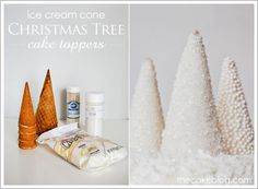 Sparkling Christmas Trees cake toppers -  Ice cream cones get a coating of melted chocolate & shimmering, sanding sugar or pearly beads. They would make an elegant decoration for your holiday treat table even without sitting atop a cake!