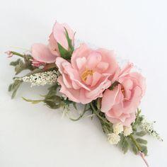 Pink Flower Comb- Rose Bridesmaids Hair Accessory- Boho Wedding Headpiece- Blush…