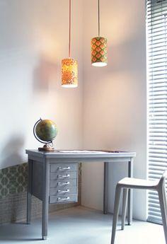 vintage wallpaper lampshades