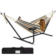 Best Choice Products Double Hammock And Steel Stand W/ Cup Holder Accessory Tray And Carrying Bag- Desert Stripe. For product & price info go to:  https://all4hiking.com/products/best-choice-products-double-hammock-and-steel-stand-w-cup-holder-accessory-tray-and-carrying-bag-desert-stripe/