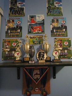 Vanity Wall Sports Trophies Themed Decor Kids Bedroom Boys