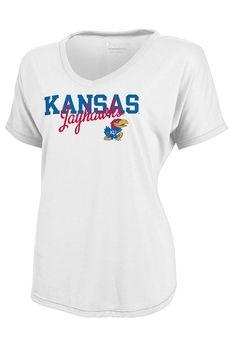 Kansas Jayhawks Champion Womens White Showtime T-Shirt http://www.rallyhouse.com/champion-kansas-jayhawks-womens-white-showtime-v-neck-t-shirt-14753412?utm_source=pinterest&utm_medium=social&utm_campaign=Pinterest-KUJayhawks