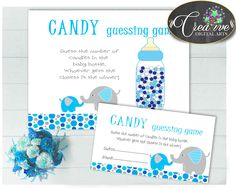 Now available at our store: CANDY GUESSING GA.... Check it out here! http://snoopy-online.myshopify.com/products/candy-guessing-game-sign-and-tickets-for-baby-shower-boy-with-aqua-blue-and-gray-elephant-theme-printable-jpg-pdf-instant-download-ebl01