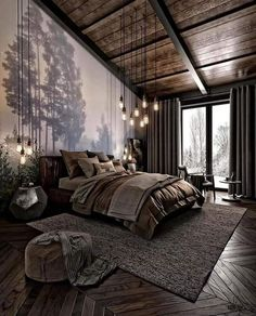 Modern Dark Cozy Bedroom has never been so Fashionable! Since the beginning of the year many girls were looking for our Magical guide and it is finally got released. Now It Is Time To Take Action! See how... #interiors #homedecor #interiordesign #homedecortips Dark Cozy Bedroom, Bedroom Modern, Bedroom Rustic, Bedroom Small, Minimalist Bedroom, Rustic Master Bedroom Design, Bedroom Ideas For Couples Modern, Forest Bedroom, Tranquil Bedroom