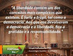 Palavras do Grupo Parlamentar do Partido Social Democrata, durante a sessão solene do 25 de Abril na Assembleia da República. #PSD #acimadetudoportugal