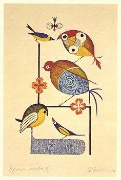 Takeo Takei, 1974  Beautiful Japanese print by Takeo Takei. Each bird is unique and has a different treatment for their eye.