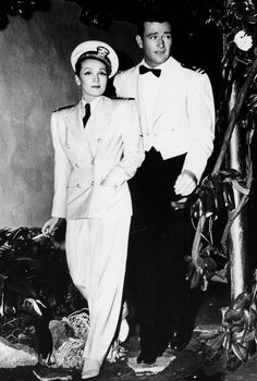 "Marlene Dietrich and John Wayne on the set of ""Seven Sinners"" (1940)"