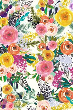 Autumn Blooms Painted Floral by theartwerks - Hand painted colorful flowers on fabric, wallpaper, and gift wrap.  Bold flowers in a painterly style in orange, pink, purple, green, yellow, and mauve.