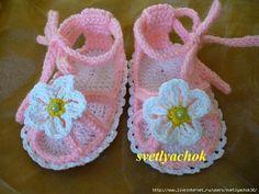 Ivelise Feito à Mão: Pap :Sandalinha Rasteirinha em Crochê para Bebês