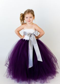 White and Plum dress with Silver sash. On sale for $105.00, generally $150.00. @TheLittlePeaBoutique