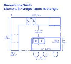 L-Shape Kitchen Islands are common kitchen layouts that use two adjacent walls, or L configuration, to efficiently array the various kitchen fixtures around a rectangular island counter. L-Shape Kitchen Islands have long lengths that range from Kitchen Island Size, Kitchen Island Dimensions, Kitchen With Long Island, Kitchen Layouts With Island, Long Kitchen, Kitchen Size, Kitchen Islands, Small Island, L Shape Kitchen Layout