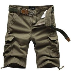 """""""Relaxing Cargo Pocket"""" Shorts (Bottom Ties) - (Army Yellow)"""